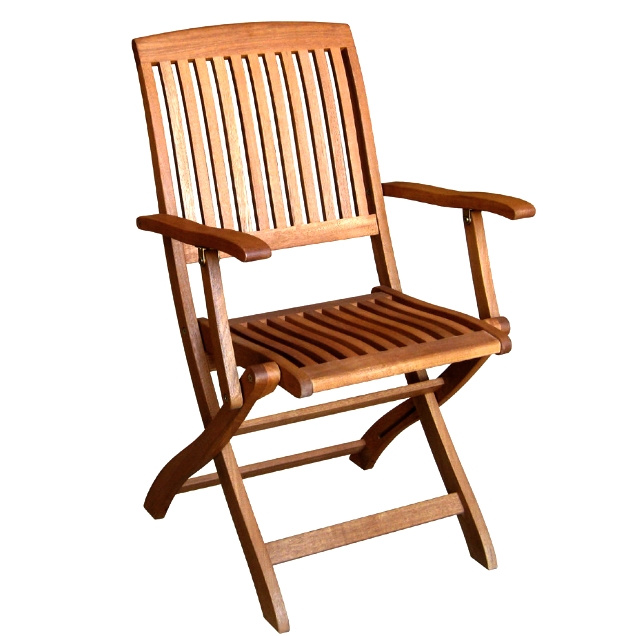 Pair Teak Type Folding Outdoor Armchairs View Images