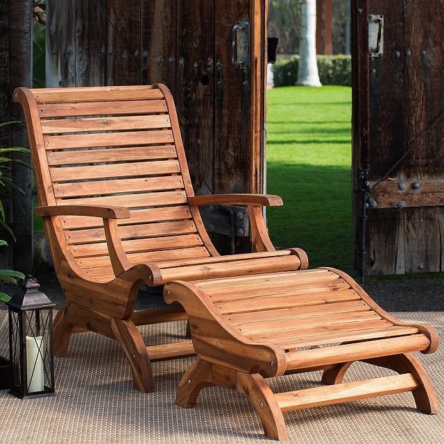 Acacia Plantation Patio Deck Chair and Ottoman Set