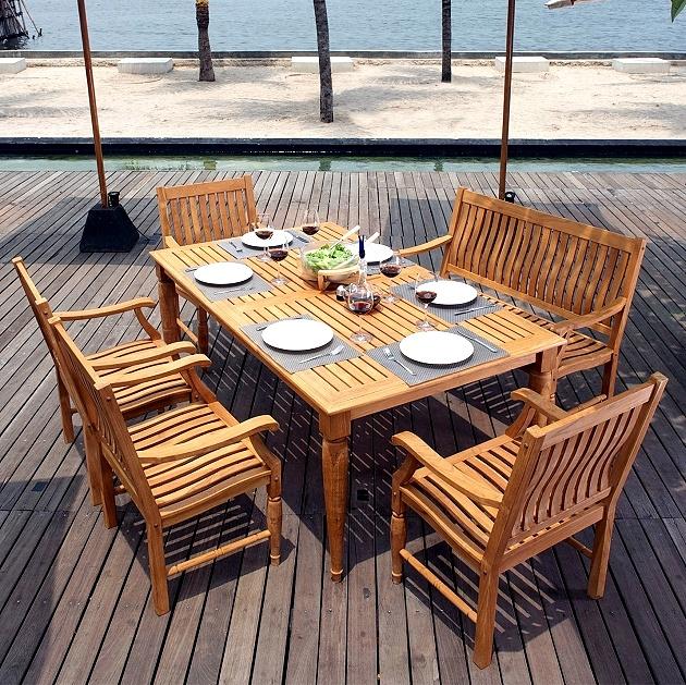 Teak 6 Piece 72 Inch Deluxe Patio Deck Dining Set
